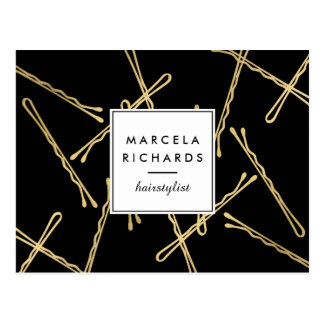 Chic Gold Bobby Pins Hair Stylist Salon Black Postcard