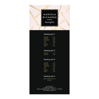 Chic Gold Bobby Pins Hair Stylist Salon Pink Full Color Rack Card