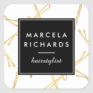 Chic Gold Bobby Pins Hair Stylist Salon Square Sticker