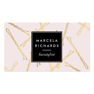 Chic Gold Bobby Pins Hairstylist, Hair Salon Pink Pack Of Standard Business Cards