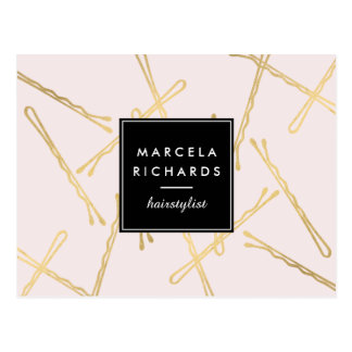 Chic Gold Bobby Pins Hairstylist, Hair Salon Pink Postcard