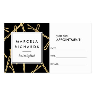 Chic Gold Bobby Pins Hairstylist II Appointment Pack Of Standard Business Cards
