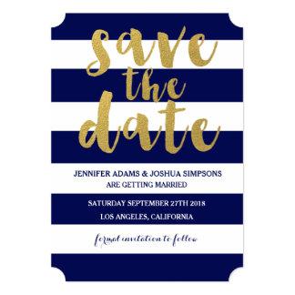 Chic Gold | Bold Blue Stripe Save the Date 13 Cm X 18 Cm Invitation Card