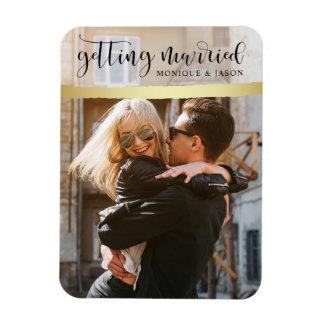 Chic Gold Brush Strokes & Photo Wedding Magnet