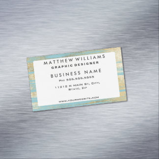 Chic Gold Brushstrokes on Island Paradise Blue Magnetic Business Cards