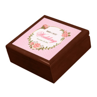 Chic Gold Circle with Pink Rose Wedding Gift Box