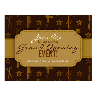 Chic Gold & Coco Brown Hair Salon Grand Opening Postcard