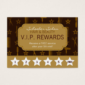 Chic Gold & Coco Brown Salon Loyalty Rewards Card