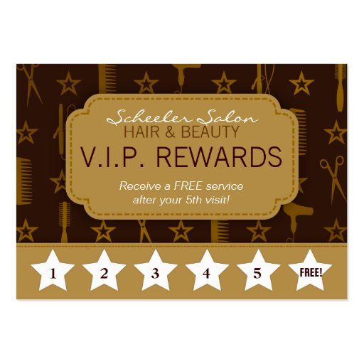 Chic Gold & Coco Brown Salon Loyalty Rewards Card Business Cards