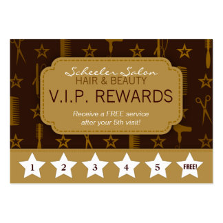 Chic Gold & Coco Brown Salon Loyalty Rewards Card Pack Of Chubby Business Cards