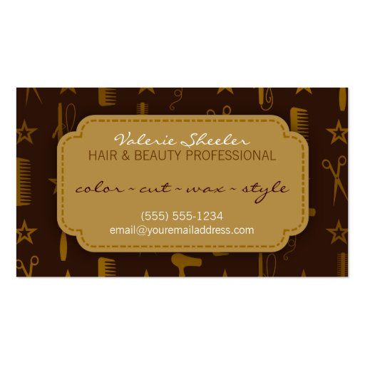 Chic Gold & Coco Hair & Beauty Appointment Card Business Card Template