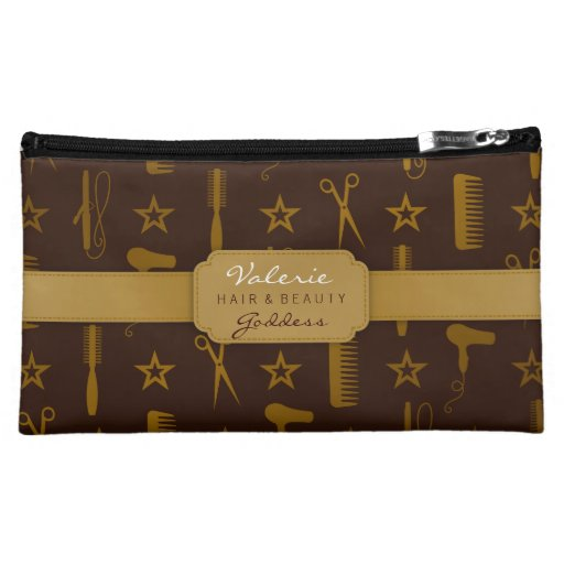 Chic Gold & Coco Hair Salon Stylist (Custom) Bag Cosmetic Bag