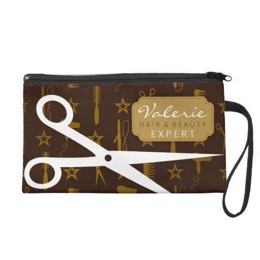 Chic Gold & Coco with White Hair Shears Custom Wristlet Clutch