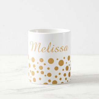 Chic Gold Confetti Dots Custom Name Coffee Mug