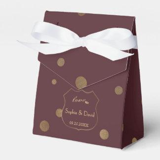 Chic Gold Confetti Love Burgundy Wedding Favour Box
