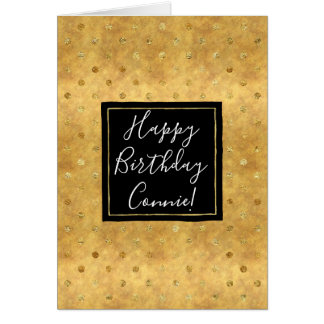 Chic Gold Dots Birthday Card