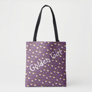 Chic Gold Dots Lilac bag for beach or shopping