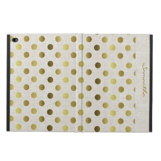 Chic Gold Dots Linen Look iPad Air 2 Case
