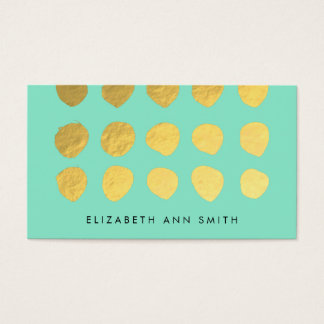 Chic Gold Dots Mint Business Professional Card