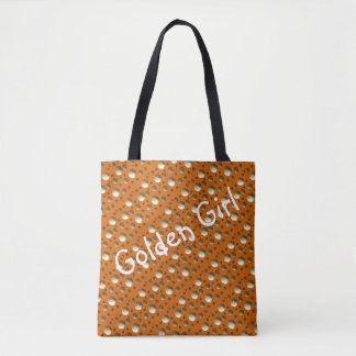 Chic Gold Dots Orange bag for beach or shopping