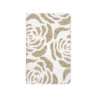 Chic Gold Faux Glitter Roses Floral Pocket Journal