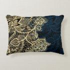 Chic gold floral lace elegant navy blue pattern decorative cushion
