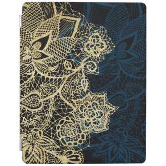 Chic gold floral lace elegant navy blue pattern iPad cover