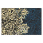 Chic gold floral lace elegant navy blue pattern tissue paper