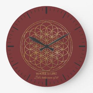 Chic Gold Flower of Life WATER is LIFE Large Clock