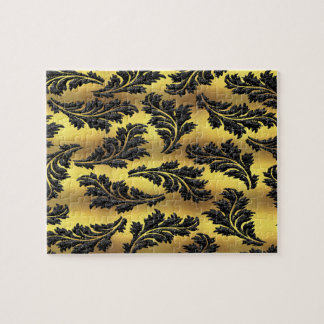 Chic Gold Foil Black Glitter Leaves Jigsaw Puzzle