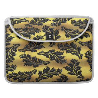 Chic Gold Foil Black Glitter Leaves MacBook Pro Sleeves