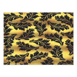 Chic Gold Foil Black Glitter Leaves Photo Print