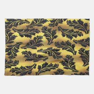 Chic Gold Foil Black Glitter Leaves Tea Towel
