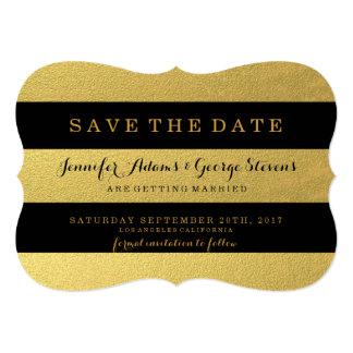 CHIC GOLD FOIL | BLACK STRIPES SAVE THE DATE 13 CM X 18 CM INVITATION CARD