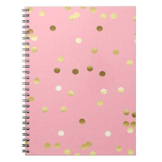 Chic Gold Foil Confetti Light Pink Spiral Notebook