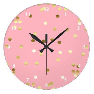 Chic Gold Foil Confetti Light Pink Wallclock