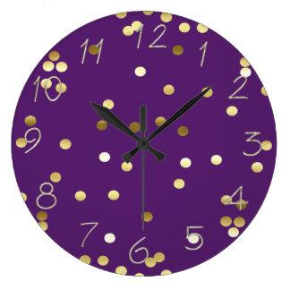Chic Gold Foil Confetti Purple Clocks