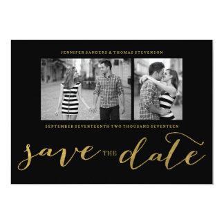 CHIC GOLD FOIL HANDWRITTEN | PHOTO SAVE THE DATE 13 CM X 18 CM INVITATION CARD