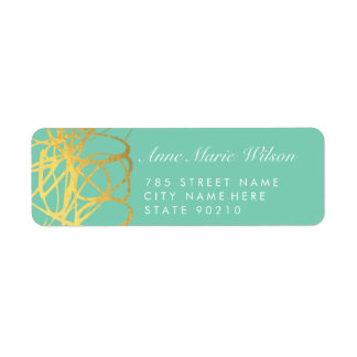 Chic Gold Foil Mint Lines Address Labels