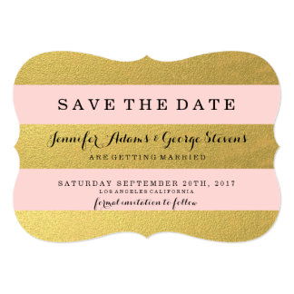 CHIC GOLD FOIL | PINK STRIPES SAVE THE DATE 13 CM X 18 CM INVITATION CARD