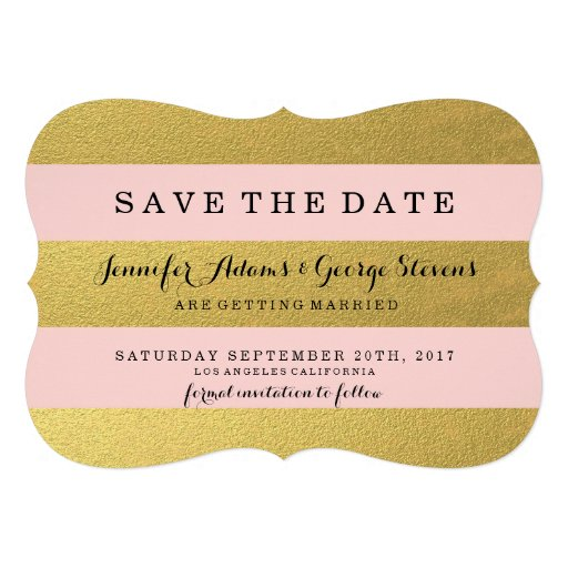 CHIC GOLD FOIL | PINK STRIPES SAVE THE DATE ANNOUNCEMENT
