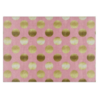 Chic Gold Foil Polka Dots Pink Cutting Board