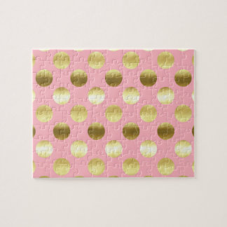 Chic Gold Foil Polka Dots Pink Jigsaw Puzzle