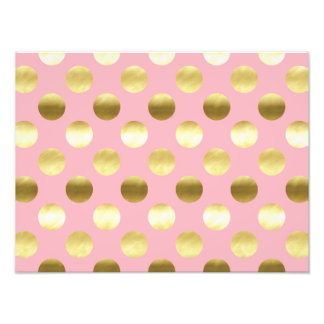 Chic Gold Foil Polka Dots Pink Photograph