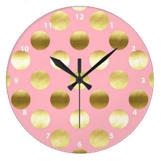 Chic Gold Foil Polka Dots Pink Wall Clock