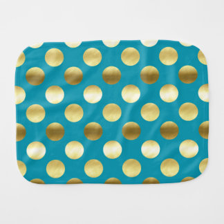 Chic Gold Foil Polka Dots Turquoise Burp Cloths
