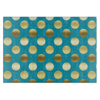 Chic Gold Foil Polka Dots Turquoise Cutting Board