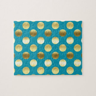 Chic Gold Foil Polka Dots Turquoise Jigsaw Puzzle