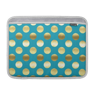 Chic Gold Foil Polka Dots Turquoise MacBook Sleeves