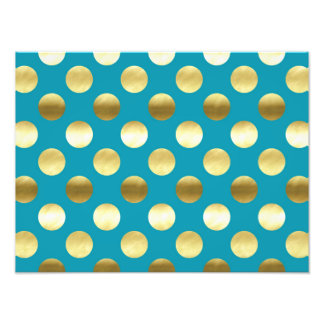 Chic Gold Foil Polka Dots Turquoise Photo Print